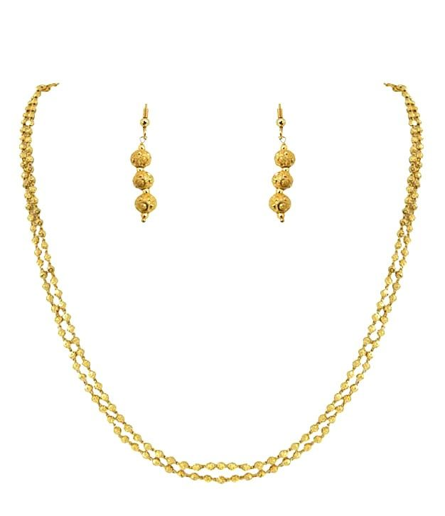 Terrific Two Lines Small Beads Gold Plated Necklace Set