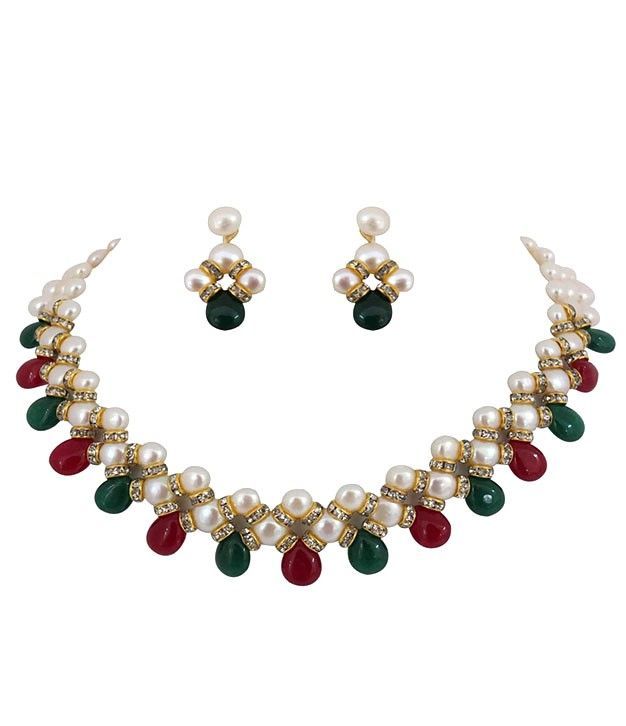 Incredible Flat Button Ruby Emerald Drop White Pearl Necklace Set