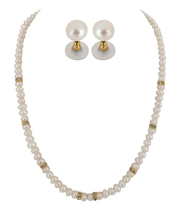 Sober Single Line Button Pearl Necklace Set