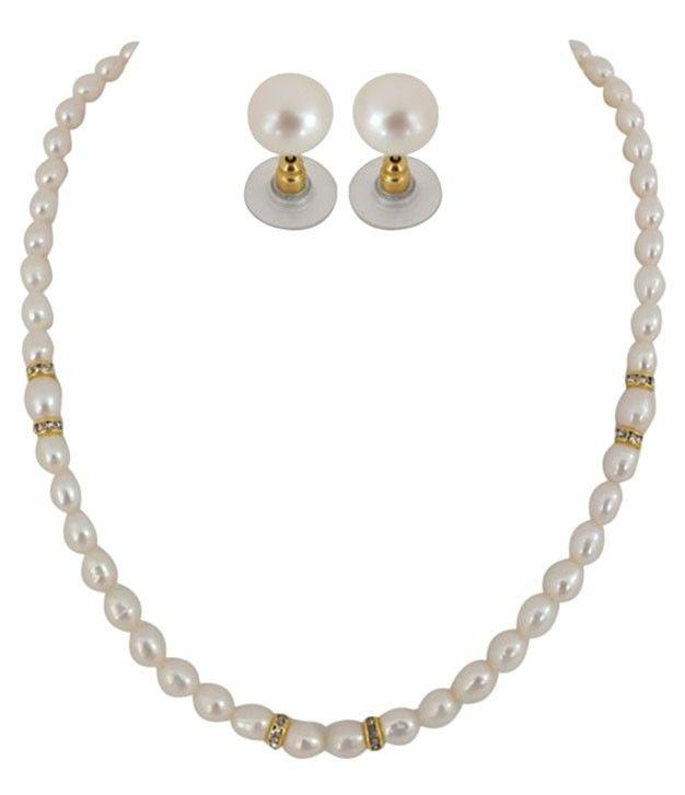 Modern Single Line Kalki Pearl Necklace Set
