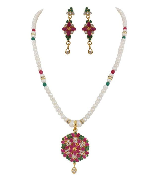 Stunning Ruby Emerald Button Pearl Necklace Set