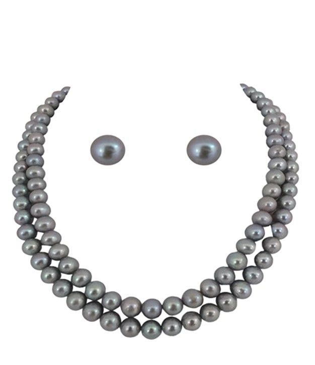 Stylish Two Line Silver/Grey Pearl Necklace Set