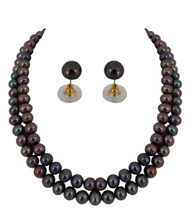 Newly Launched Round Grey Pearl Necklace Set