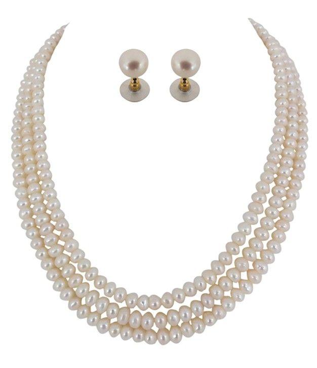 Glistening Button Three Lines  Fresh Water Pearls Necklace Set