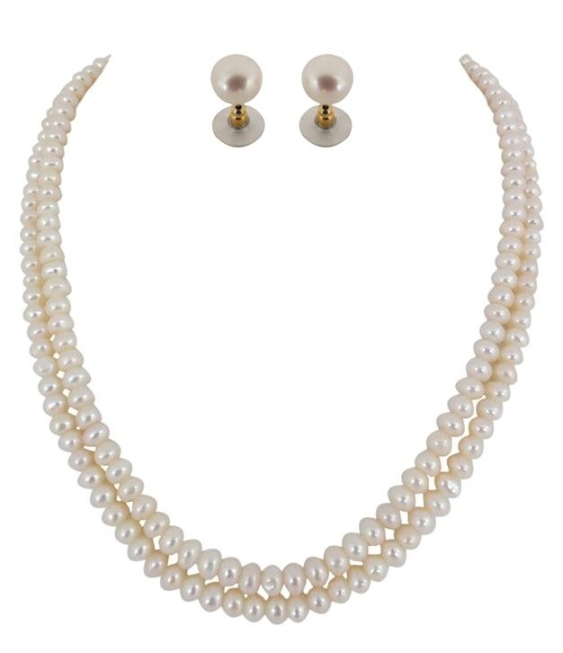 Magnetic Button Two Lines  Fresh Water Pearls Necklace Set