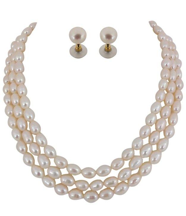 Magical Kalki Fresh Water Three Line Pearl Necklace Set