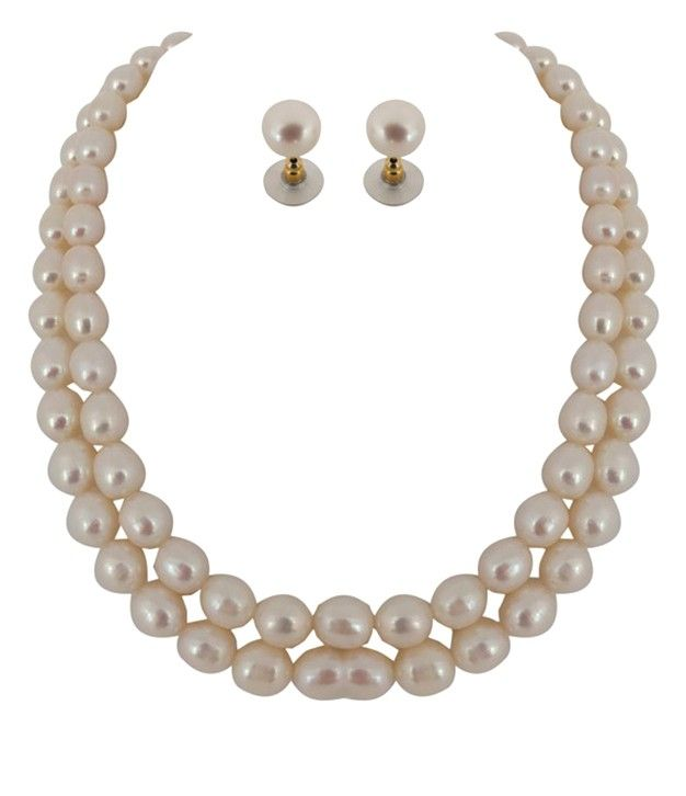 Outstanding Kalki Fresh Water Two Line Big Size Pearl Necklace Set