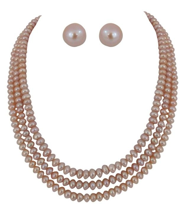 Selective Three Line Peach Colour Button Pearl Necklace Set