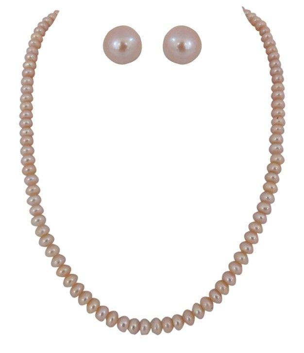 Classic Single Line Peach Colour Button Pearl Necklace Set
