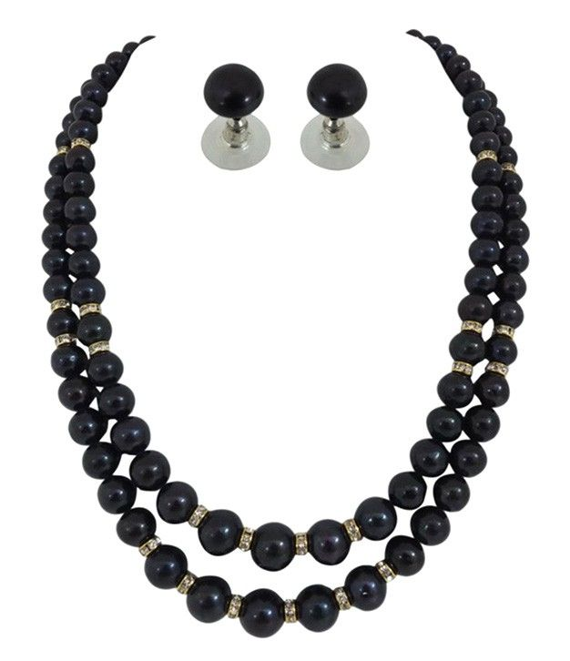 Inviting Black Pearls  Necklace set With Stone