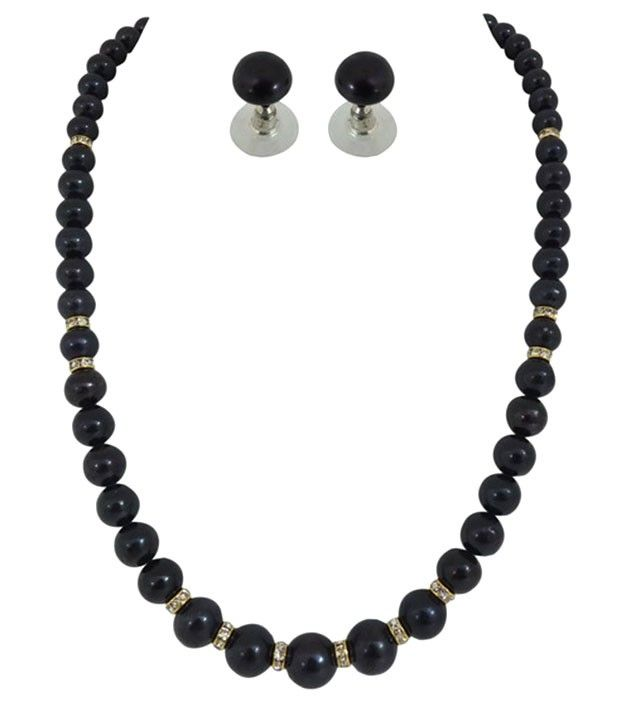Magical Black Pearls Necklace Set