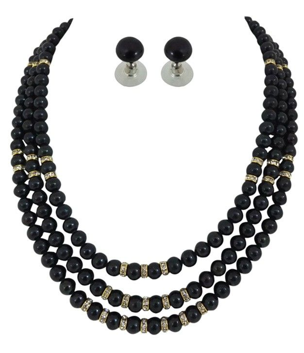 Best Black Pearls Necklace Three Line With Stone