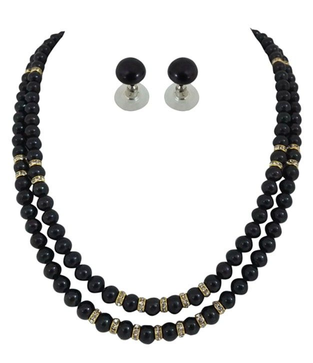 Mellifluous Black Pearls Necklace Two Line With Stone