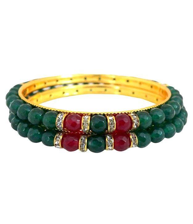 Designer Green Onyx Bangles With Stone