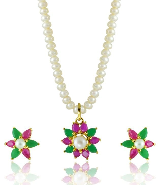 Elegant Pearl Necklace Set with Green and Violet Stones in a Floral Design