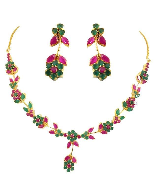 Ethnic Emerald Ruby Necklace Set