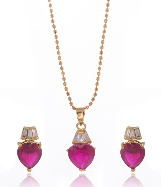 Ruby CZ Pendant Set with Chain