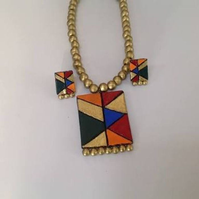 rainbow tone and gold pendant pastel claire necklace s