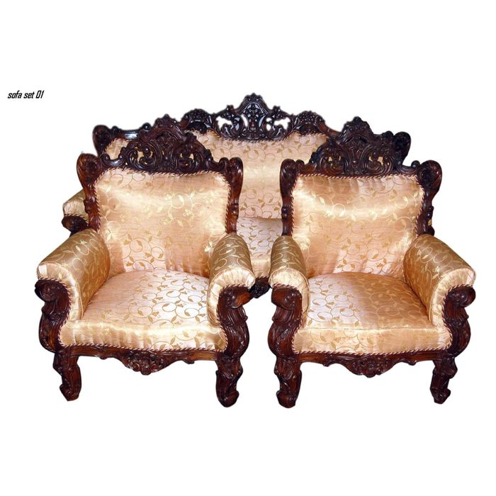 Wooden 5 Seater Sofa Set Carving