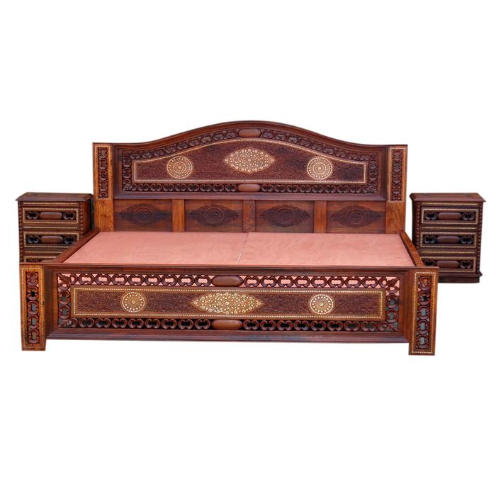 Wooden Carved Bed and Side Cabinets