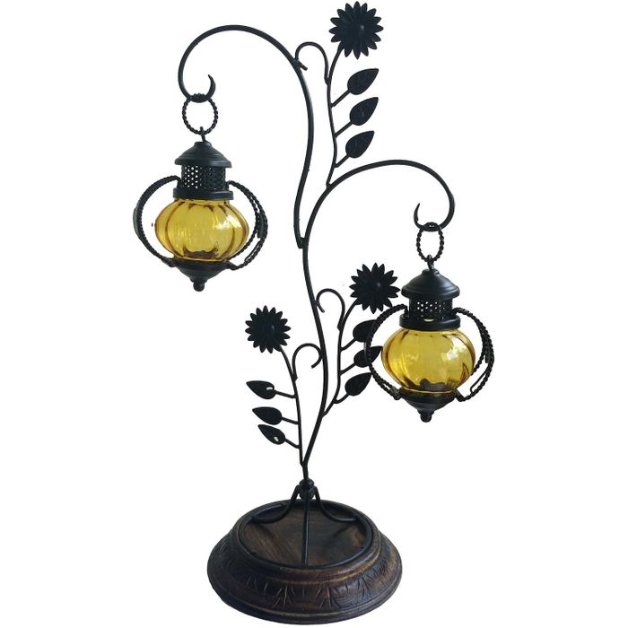 OnlineShoppee Attractive Glass with Metal Candle Stand Lantern