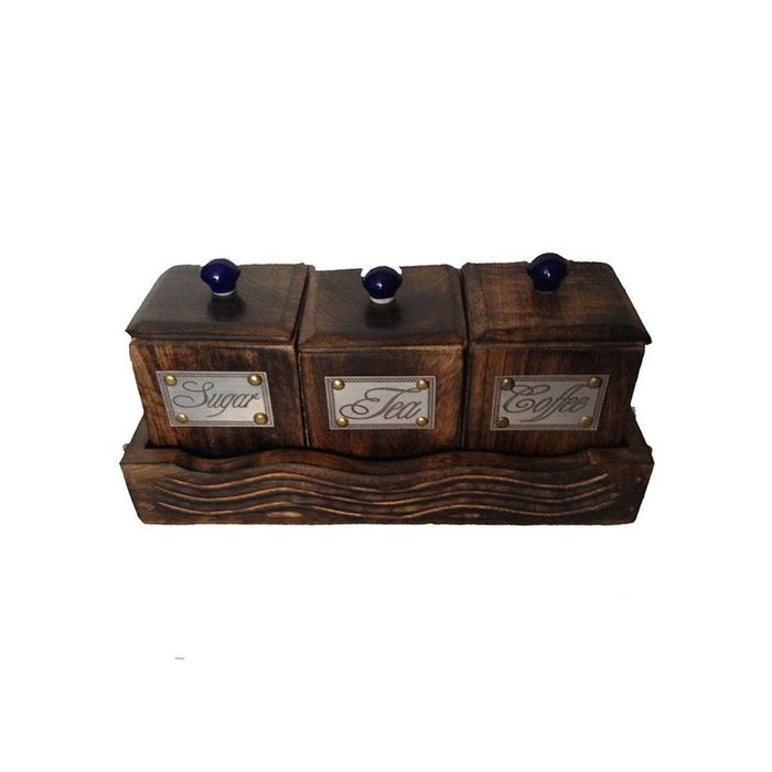 Three Container Set With Wooden Tray