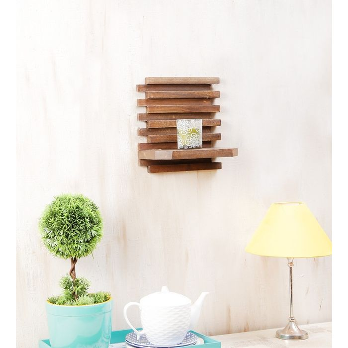 Onlineshoppee Beautiful Wooden Wall Rack Size (LxBxH-10x6x10) Inch,Color-Netural