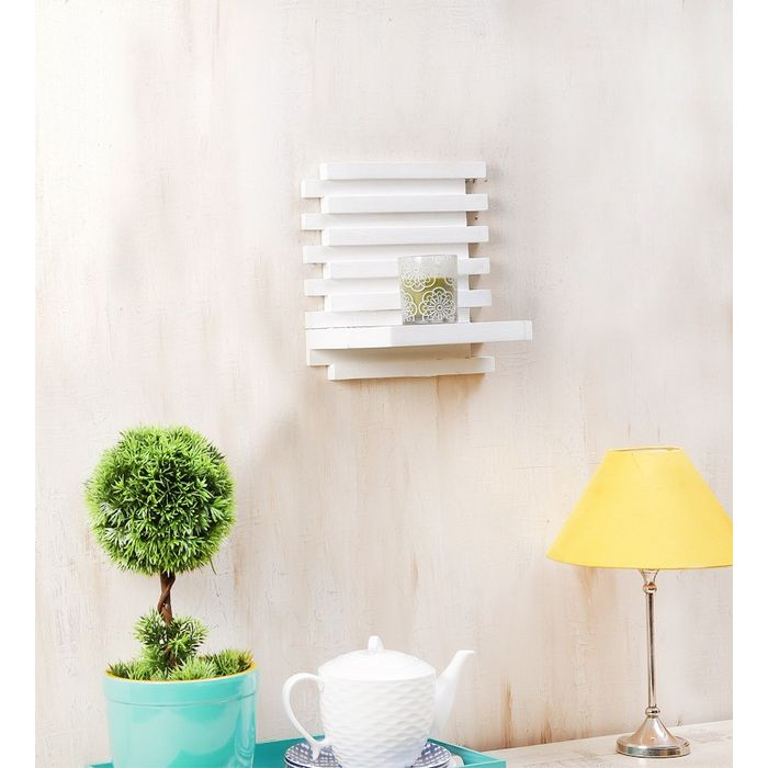 Onlineshoppee Beautiful Wooden Wall Rack ,Color-White