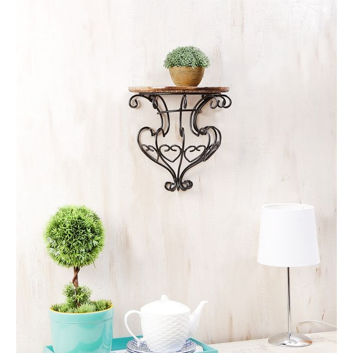 Onlineshoppee  Wooden & Wrought Iron Wall Bracket  Size (LxBxH-12x6x12) Inch