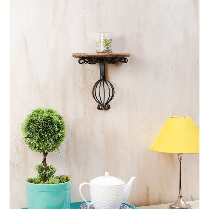 Onlineshoppee  Wooden & Wrought Iron Wall Bracket  Size (LxBxH-10x5x9) Inch