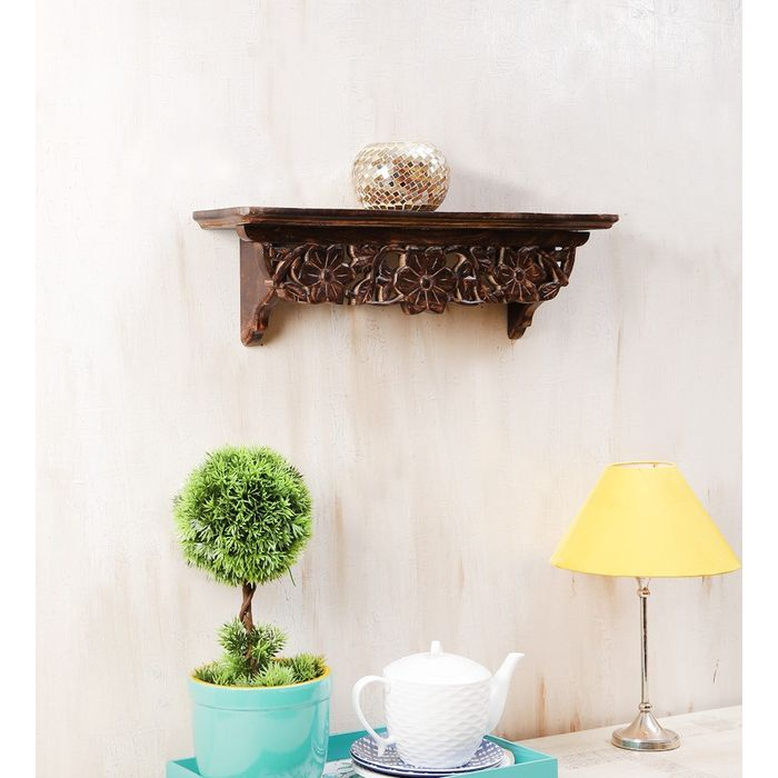 Onlineshoppee Wooden Fancy Wall Bracket/Book Rack Size (LxBxH-23x5x7) Inch
