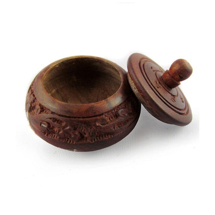 Shingar Box Brown Wood Handicrafts-Sindoor Box