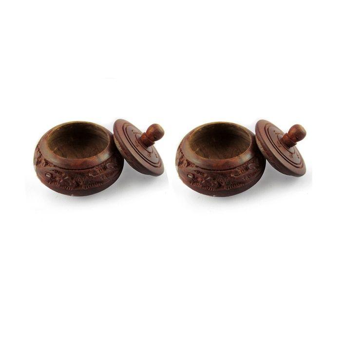 Sindoor Shingaar Box Brown Wood Handicrafts-Wooden 2 Pcs.