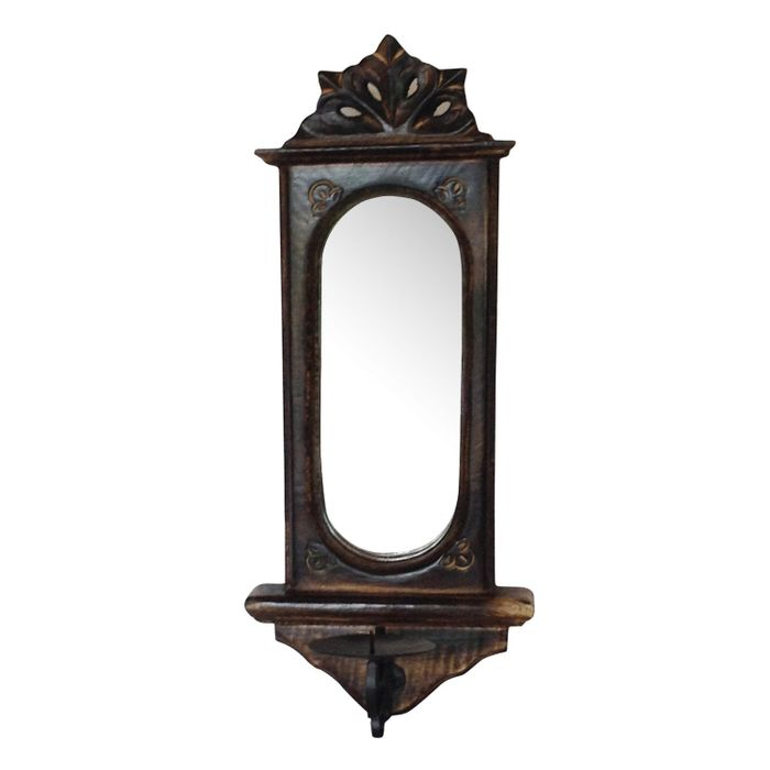 Wooden Big Candle Stand for Wall Mirror Antique Style Handicrafts Size(LxBxH-7.5x4x17) Inch