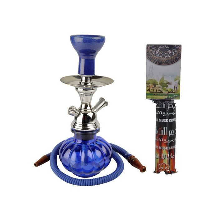 Blue Hookah With Coal Pack And Flavor
