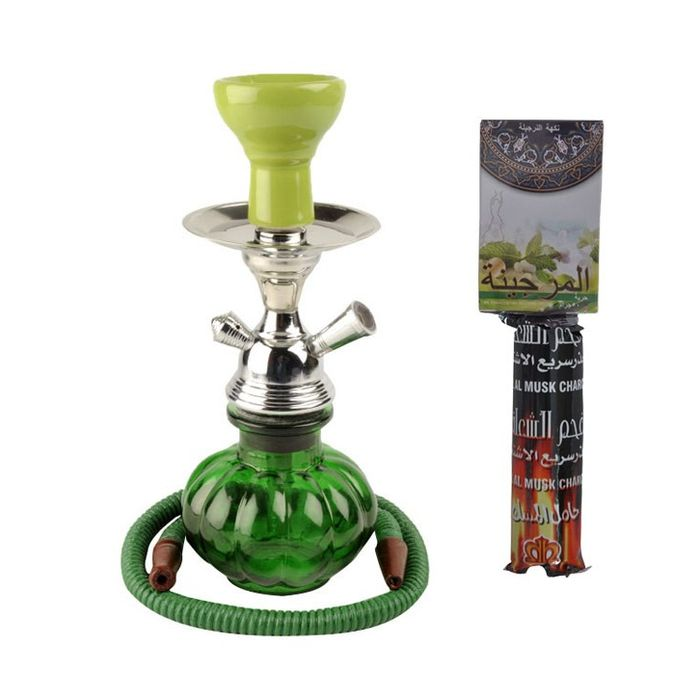 Green Hookah With Coal Pack And Flavor