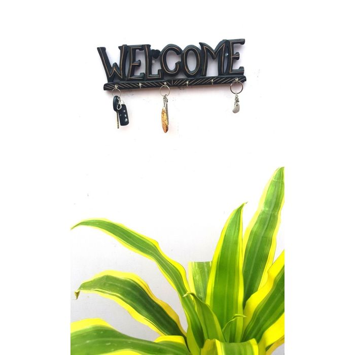 Onlineshoppee Wooden Antique Welcome Shaped Key Holder With 6 Hooks