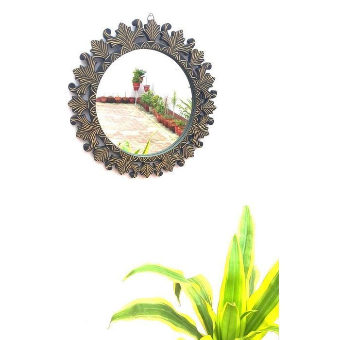 Onlineshoppee Beautiful Design Mirror With Wooden Frame  Size (LxBxH-16x1x16) Inch