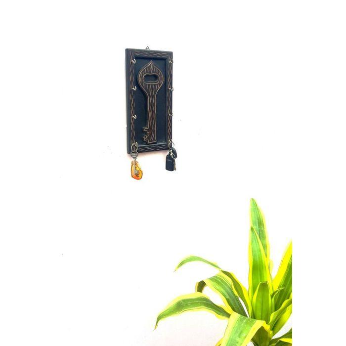 Onlineshoppee Wooden Antique Key Holder Key Shape With 8 Hooks Size (LxBxH-6x1x12) Inch