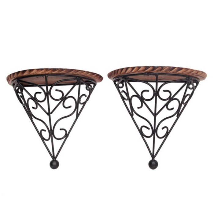 Onlineshoppee Wooden & Iron Fancy Design Wall Bracket/Rack Size (LxBxH-8x4x8) Inch Set Of 2