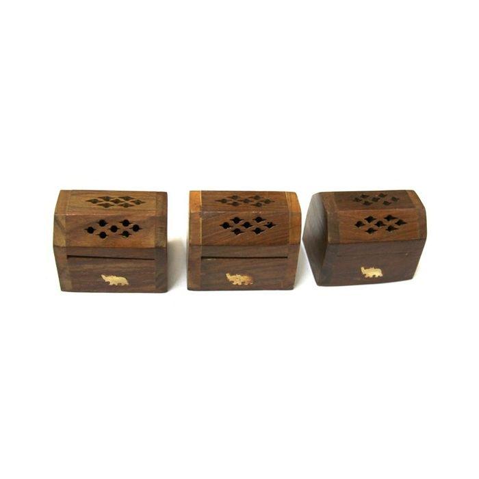 Onlineshoppee Set Of 3 Wooden Handicraft Agarbatti Incense Stick Dhoop Batti Box/cas/stand/holder