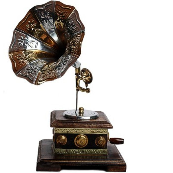 Onlineshoppee Wooden Antique Aesthetic Gramophone Showpiece - 18 cm
