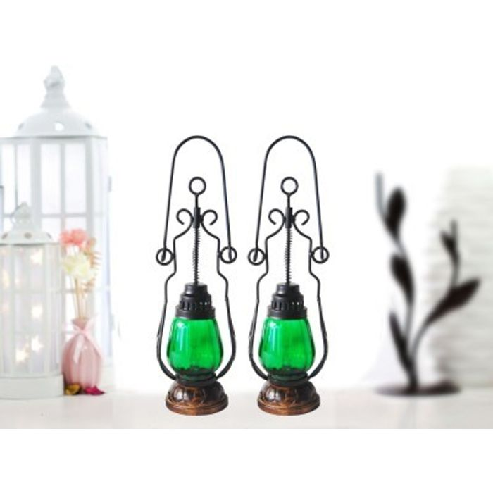 Onlineshoppee Green Wooden, Glass Lantern