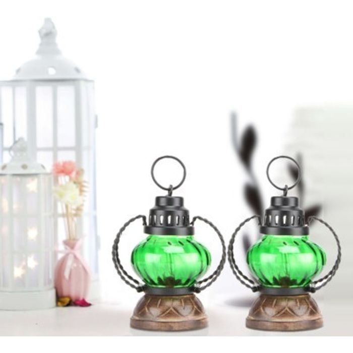 Onlineshoppee Green Wooden, Glass Lantern Size(LxBxH-5x5x7) Inch Pack Of 2