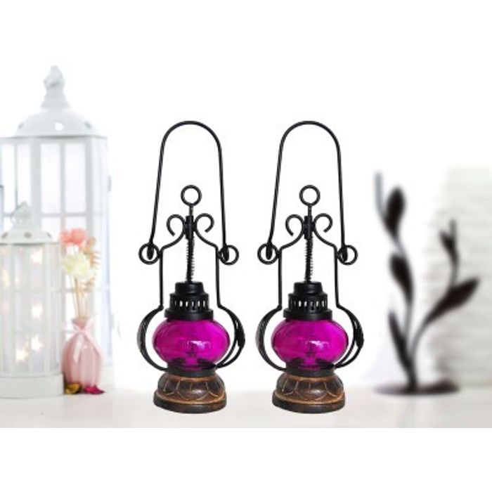 Onlineshoppee Pink Wooden, Glass Lantern Size(LxBxH-5.25x5.25x13.5) Inch Pack Of 2
