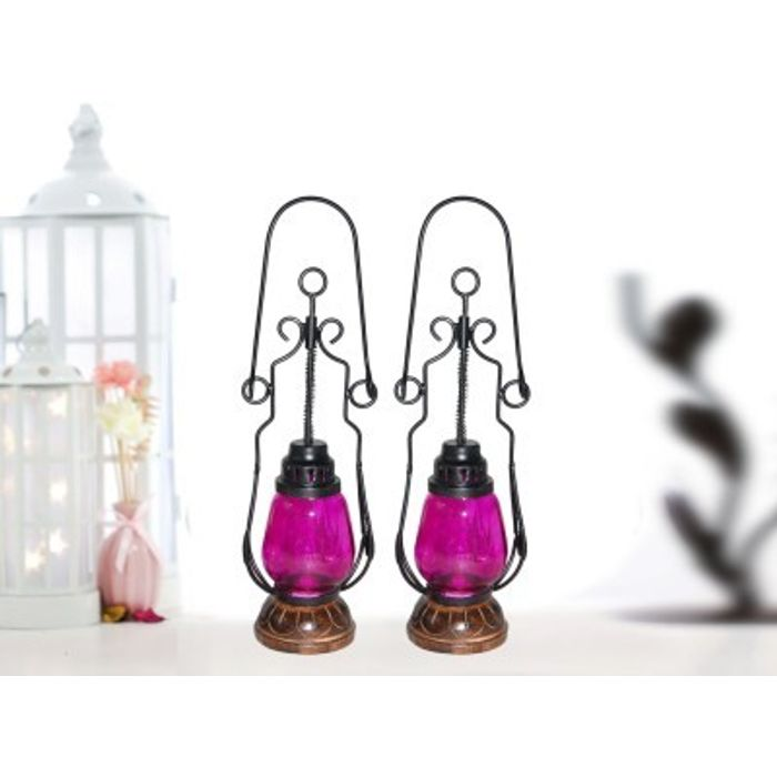 Onlineshoppee Pink Wooden, Glass Lantern  Pack Of 2