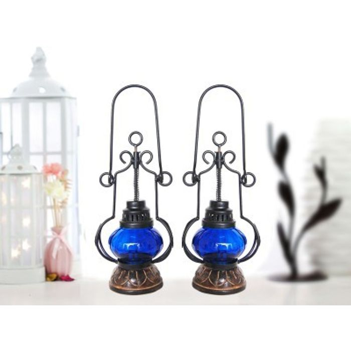 Onlineshoppee Blue Wooden, Glass Lantern Size(LxBxH-5.25x5.25x13.25) Inch Pack Of 2