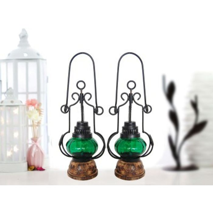 Onlineshoppee Green Wooden, Glass Lantern Size(LxBxH-5x5x13.5) Inch Pack Of 2