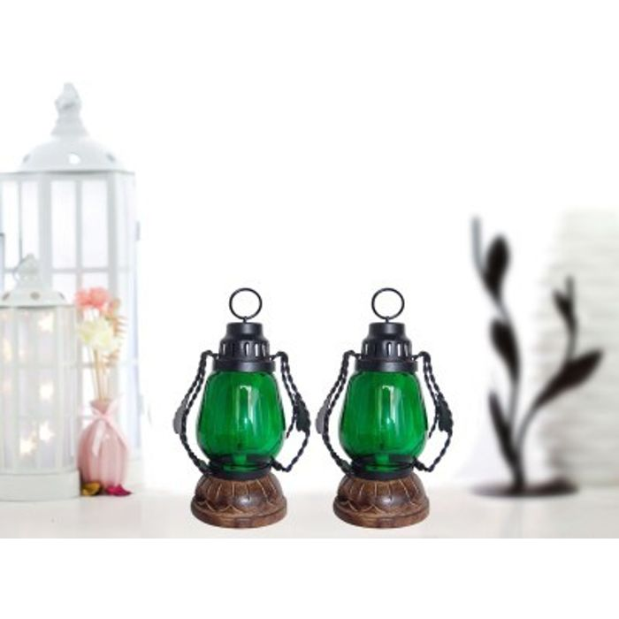 Onlineshoppee Green Wooden, Glass Lantern Size(LxBxH-4.5x4.5x8.5) Inch Pack Of 2