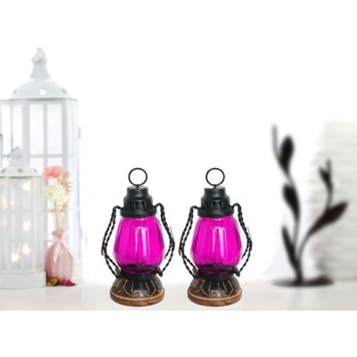 Onlineshoppee Pink Wooden, Glass Lantern Size(LxBxH-4.5x4.5x8.5) Inch Pack Of 2